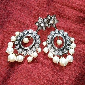 NWT Semi-Precious Rhodium/Diamond/Pearl Earrings!
